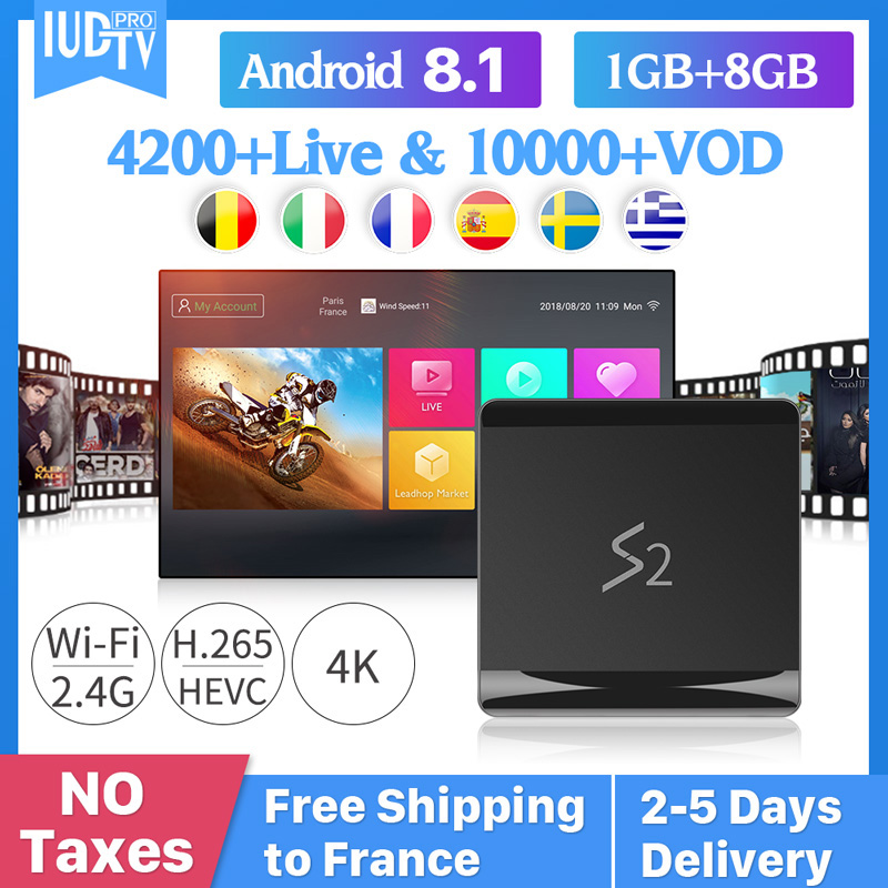 Leadcool S2 TV Box Iptv France Android 8.1 RK3229 With 1 Year IUDTV Subscription UK Greece Arabic Spain Netherlands Sweden
