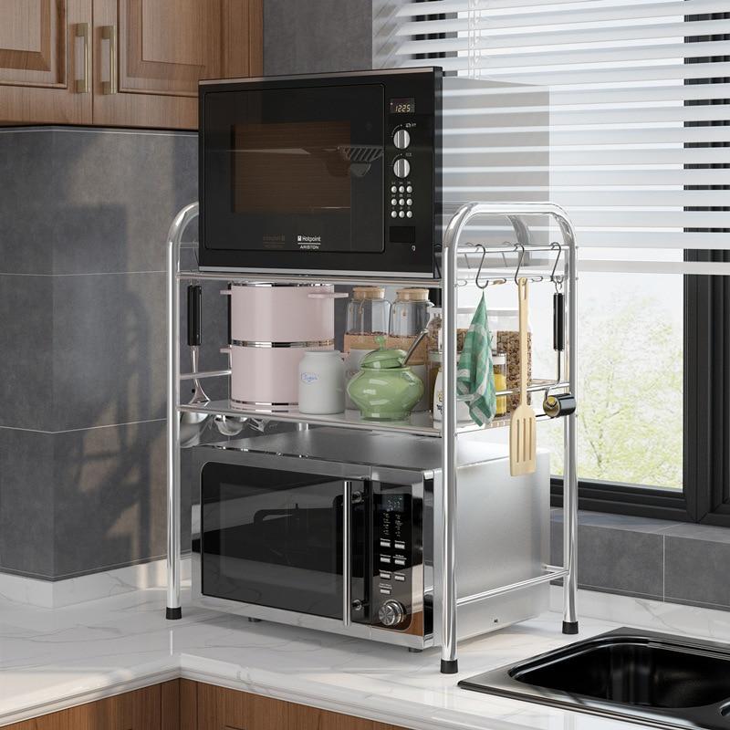 Stainless steel kitchen shelf Microwave rack Floor double layer storage supplies seasoning oven rack kitchen accessories