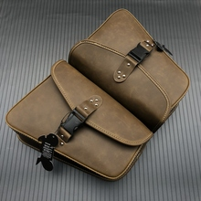 Bolso de sillín de cuero PU para motocicleta al aire libre bolso de sillín Retro Universal bolsas de almacenamiento de equipaje para Harley Sportster XL 883