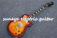 цена на Suneye Sunburst Quilted Finish Electric Guitar Chrome Hardware Guitars Electric Left Handed Guitar Kit Custom Available