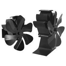 2021 Black Fireplace Burning Fan 6 Blade Heat Powered Efficient Hanging Fireplace Fan Wood Burner Eco Fan Home Heat Distribut