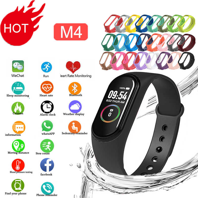 M4 Smart Siliconen Waaks Sport Polsbandjes Voor Mannen Led Screen Fitness Tracker Bluetooth Lift Waterdichte Realme Intelligente Band
