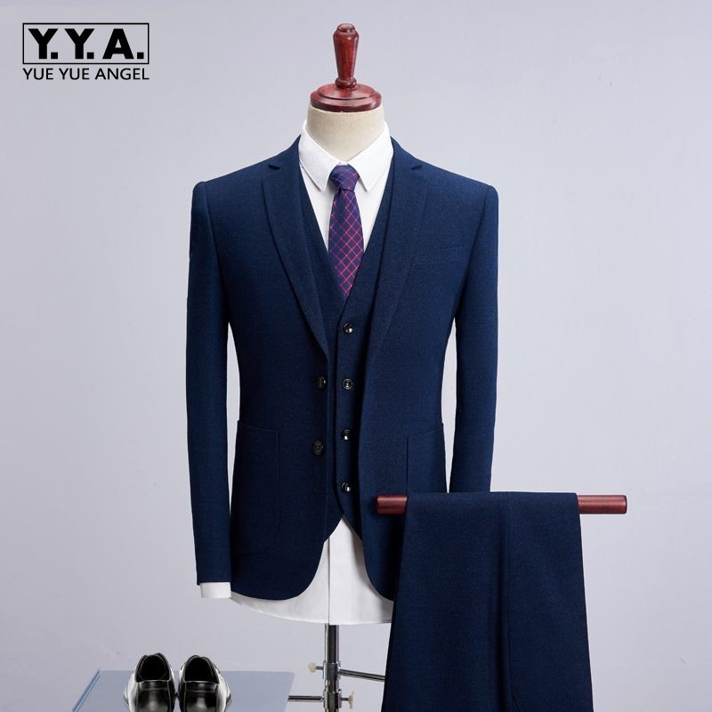 Men Wedding Suits 2020 Elegant Groom Slim Fit Male 3 Piece Suit Pant Coat Latest Designs Business Casual Working Clothes 4XL New