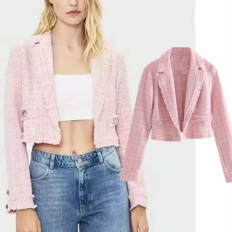 Women Autumn Pink Linen Blazer Jacket Vintage England Style Button Short Blazer Long Sleeve V-Neck Casual Blazer