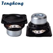 Alto falante tenghong, 2 peças, 45mm, à prova d água, 18 núcleo 4ohm 10w, borda de borracha, alcance total, unidade de alto falante quadrada alto falantes bluetooth,