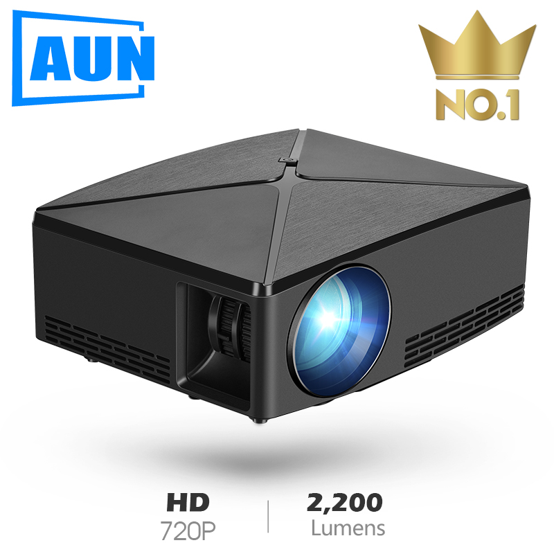 AUN MINI Proyector C80UP contra salpicaduras y bandeja para viruta, lámina de acero 1280mm para resolución de 720P Android WIFI Proyector... beamer 3D portátil LED para Cine en Casa 4 K, opcional C80