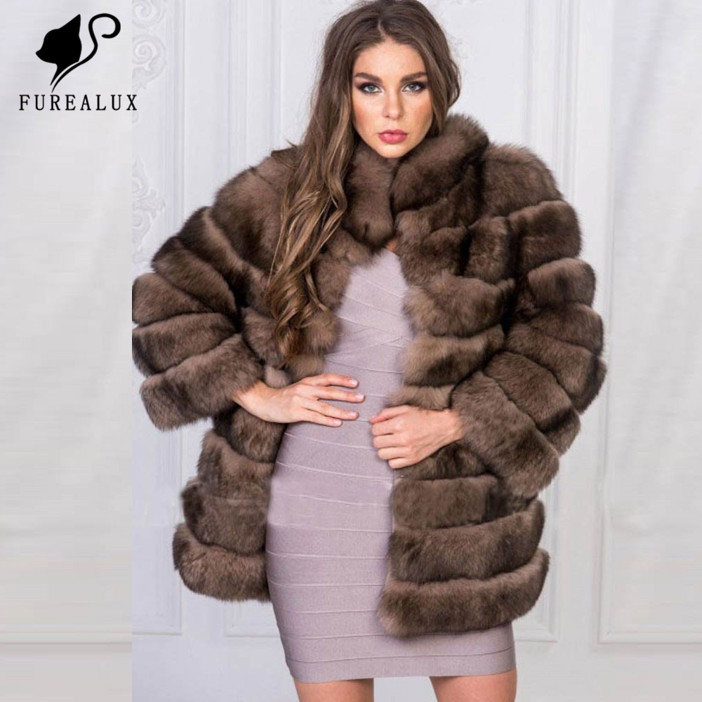 Coats Clothing Handmade Real-Fox-Fur Natural Women's Warm Thick FC-045 Stand-Collar Whole-Skin