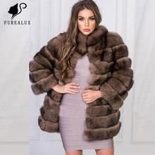 цена Top Quality Whole Skin Natural Real Fox Fur Coats Women's Stand Collar Thick Warm Handmade Clothing Fur Coats Customized FC-045