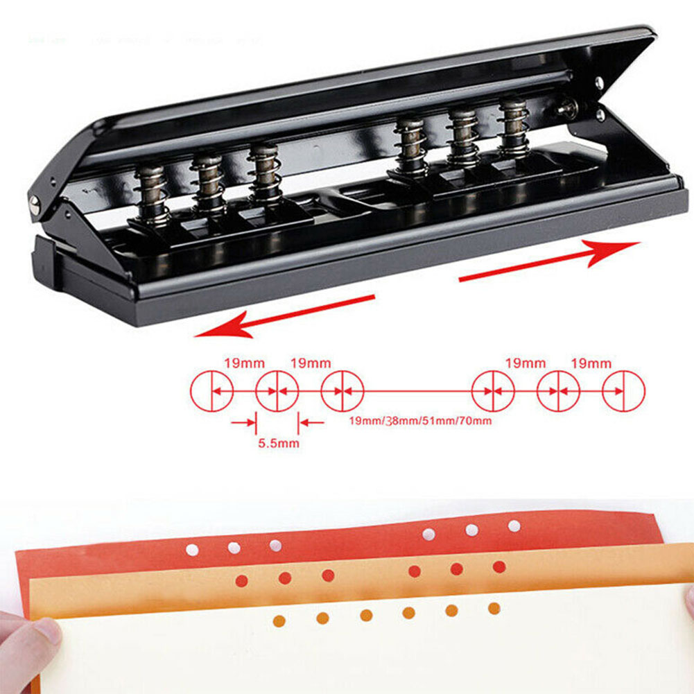 DIY Adjustable Tool Stationery Planner Portable Home Handheld Professional Ring Binder School Paper Puncher 6 Hole Office Metal