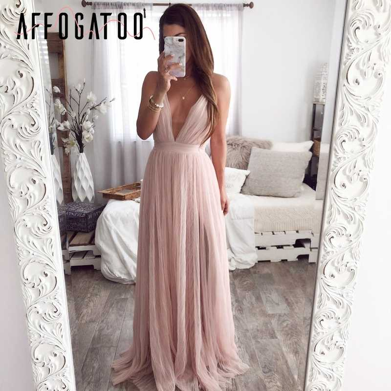 Affogatoo Sexy deep v neck backless summer pink dress women Elegant lace evening maxi dress Holiday long party dress ladies 2019
