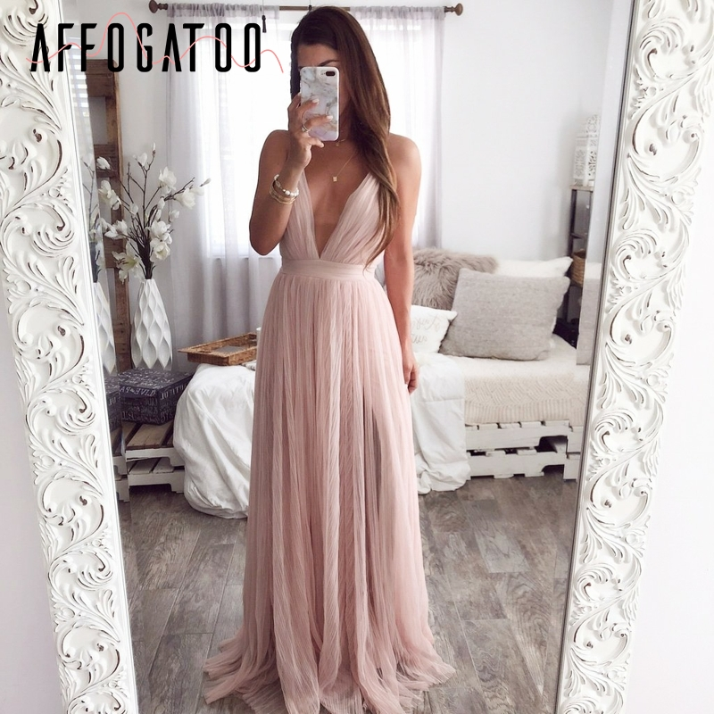Affogatoo Sexy deep v neck backless summer pink dress women Elegant lace evening maxi dress Holiday