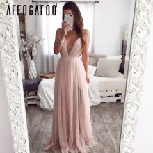 Affogatoo Sexy deep v neck backless summer pink dress women Elegant lace evening maxi dress Holiday long party dress ladies 2019(China)