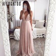 Affogatoo Sexy deep v neck backless summer pink dress women Elegant lace evening
