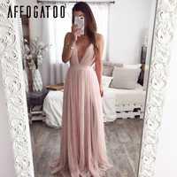 Afogatoo сексуальное летнее розовое платье с глубоким v-образным вырезом и открытой спиной для женщин, элегантное кружевное вечернее платье мак...