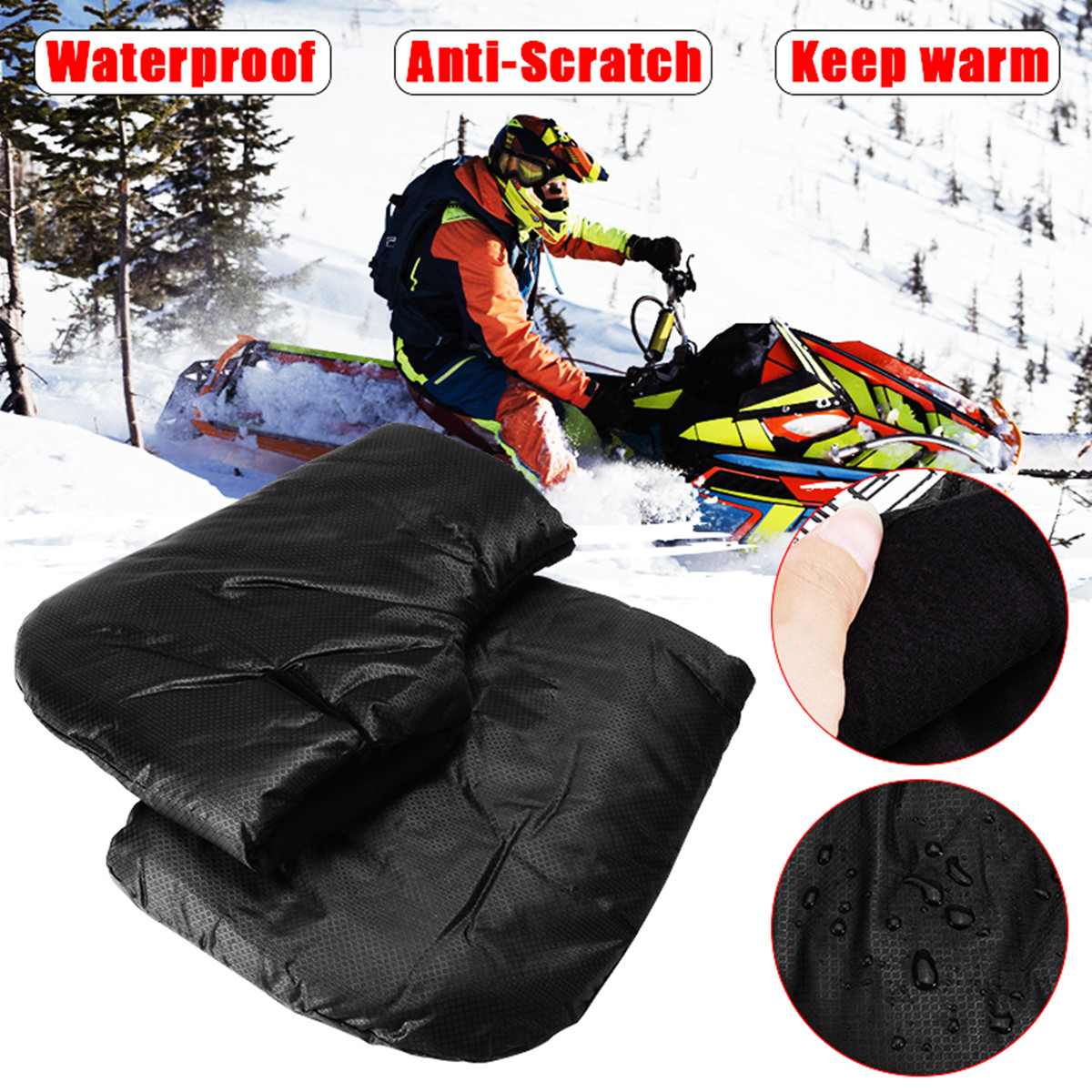 Motorcycle Gloves Handlebar Levers Gloves Scooter Hand Bar Winter Gloves ATV Fur Mitts Motorbike Quad Bike Waterproof