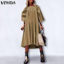 Robe Maxi-Dress VONDA Bohemian Casual Ladies Autumn Solid Femme Baggy