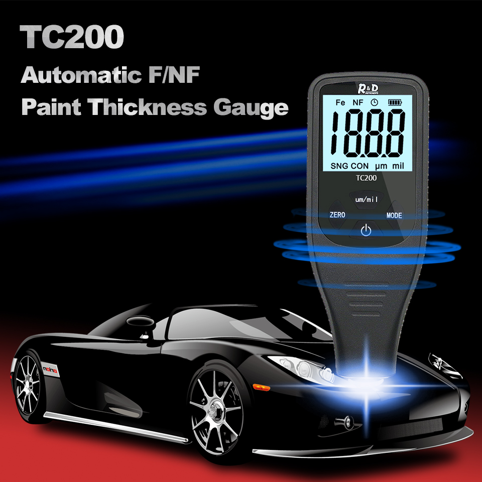 LCD WithUS Gauge Thickness Amp D Film R Meter Composite Backlight RU TC200 Auto Measurement Paint Coating NF Manual Fe Car Thickness