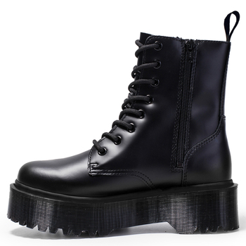 Jadon 8-Eye Doc Boots Women High Platform Ankle Shoes Chunky Woman Leather Motorcycle Ladies Fashion Women Boots Martins 2020