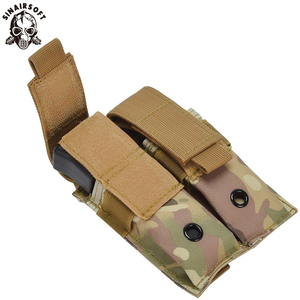 SINAIRSOFT Tactical Nylon 9mm 600D Molle Dual Double Pistol Magazine EDC Pouch Close Holster For Outdoor Hunting Combat Military