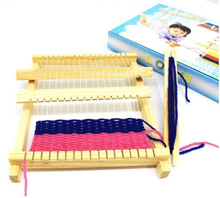 Children Hand Knitting Toy DIY Weaving Machine Mini Loom Kids Intelligence Develop Eaducational Hand Eye Wooden Toys