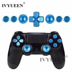 Image 1 - Ivyueen Dành Cho PlayStation 4 PS4 Pro Slim Bộ Điều Khiển Xanh Dương Nhôm Analog Ngón Tay Cái Gậy + Kim Loại Dpad Đạn 9 Mm Nút mod Kit
