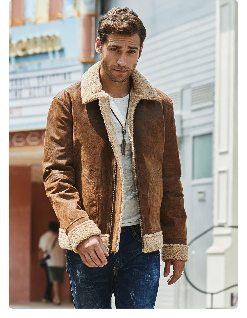 Hca76959724a6401e82e93b5ef3b1da75m New Men's Real Leather Jacket Faux Fur Collar Genuine Leather Jacket