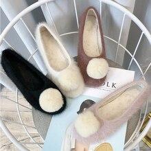 Slip-On-Loafers Women's Flat-Shoes Korean-Style Autumn Winter Woman for Girl Short Plush
