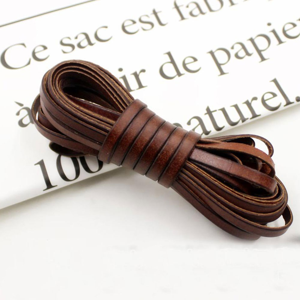 Leather Cord Strip Vintage Genuine Cowhide Flat Rope Diy Leather Craft Jewelry