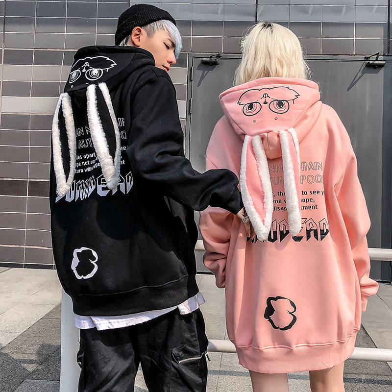Women Hoodies Animal Lovely Pullover Kawaii Rabbit Sweatshirt Tops Cute Bunny Graphic Outerwear Pink Black Couple Hoodie Girls