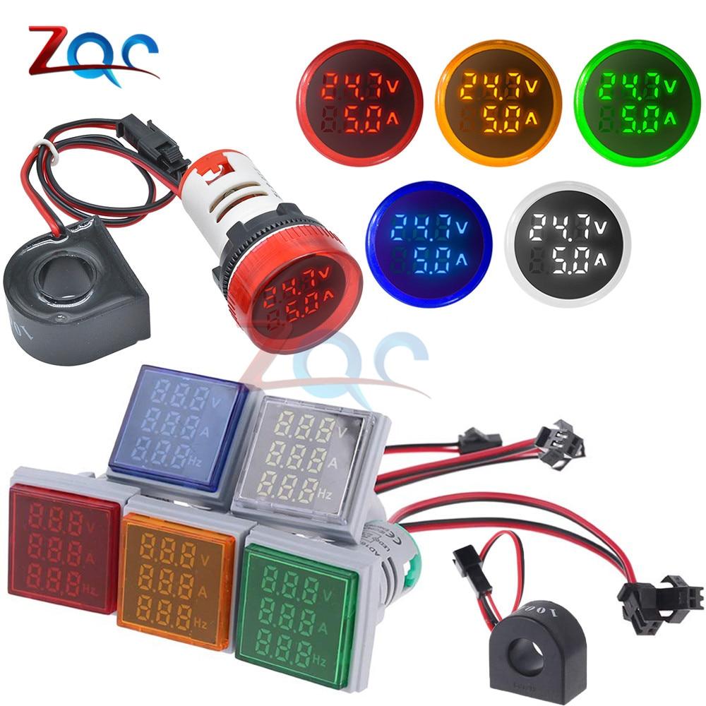 AC 60-500V 110V 220V Ammeter Voltmeter HZ Hertz Frequency Meter 22mm Digital Current Voltage Amp Signal Light LED Lamp Indicator
