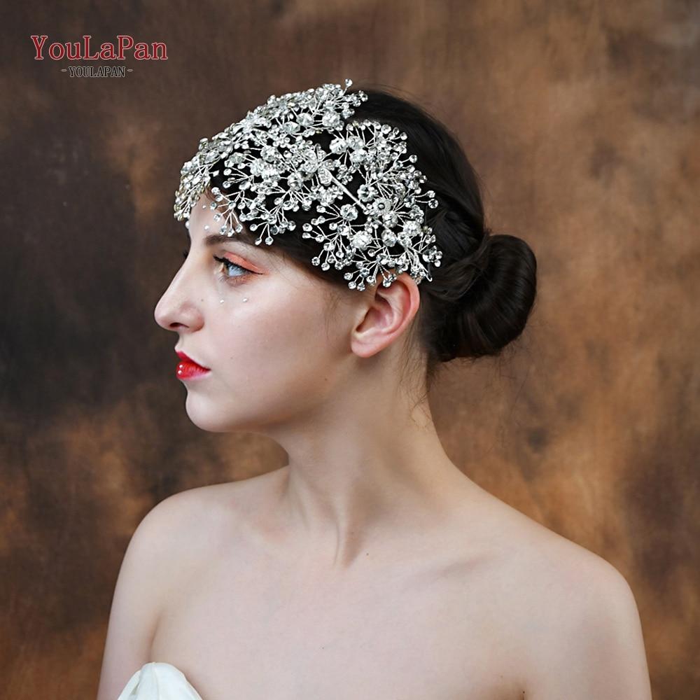 Image 2 - YouLaPan HP240 S Bride tiara handmade crystal wedding hair jewelry fascinators for wedding rhinestone wedding crown Headpieces-in Bridal Headwear from Weddings & Events