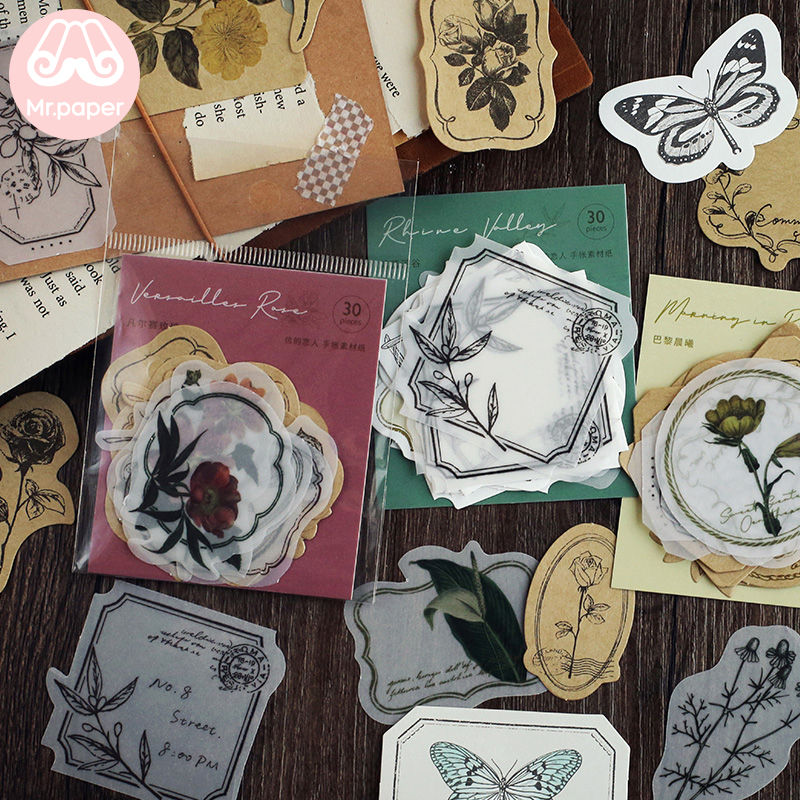 Mr.paper 30pcs/lot Vintage Flower Butter Paper Kraft Card Journaling Bullet DIY Scrapbooking Material Paper Retro LOMO Cards