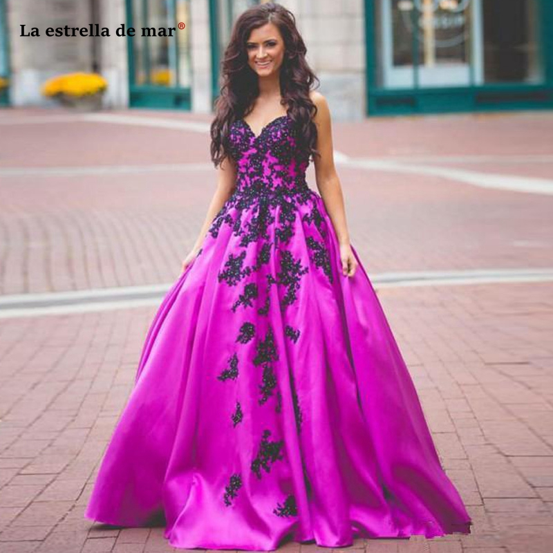 Vestidos De Fiesta Largos Elegantes De Gala Satin Ball Gown Prom Dresses Sweetheart Lace Appliques Satin Fuchsia Evening Gown