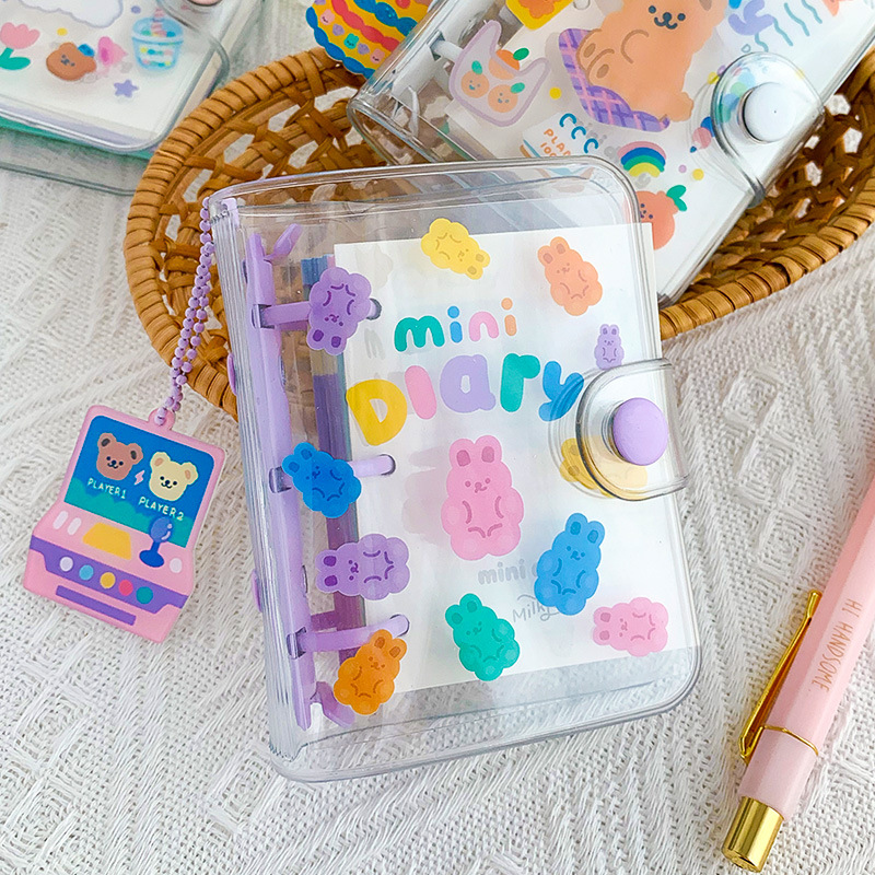 <font><b>Kawaii</b></font> Jelly Candy Colorful Bear Diary Mini Pocket PVC Cover Agenda <font><b>Book</b></font> 12*12cm Monthly Plan+Lined <font><b>Note</b></font>+Grid Paper 90 Sheets image