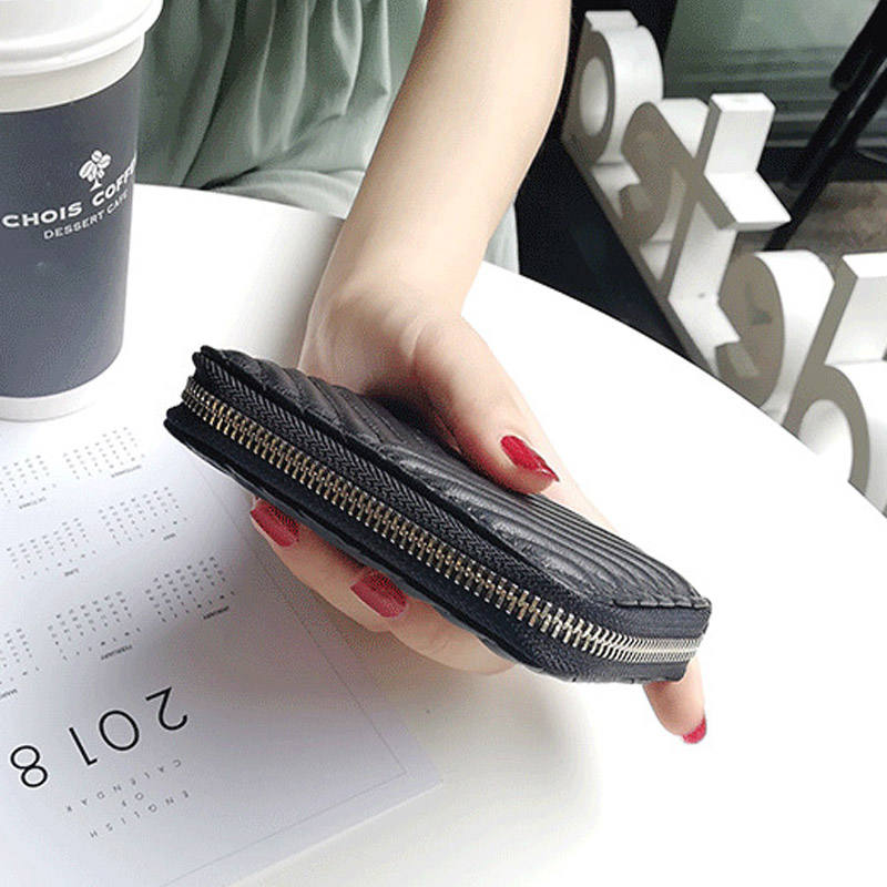 Sheepskin Small Coin Purse Girl  New Short Zipper Change Pocket Genuine Leather Mini Coin Bag Female Multi-function Coin Purses