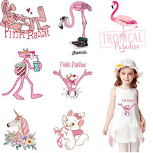 pink rabbit flamingos Iron on transfers stickers for clothes ins style thermal patches T-shirts A-level washable DIY accessories
