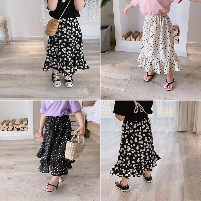 3590 Baby Girls' Mid Length Skirts Summer 2020 Kids Daisy Skirt Children's Ruffle Polka Dot Chiffon Flower Skirts 80-140cm