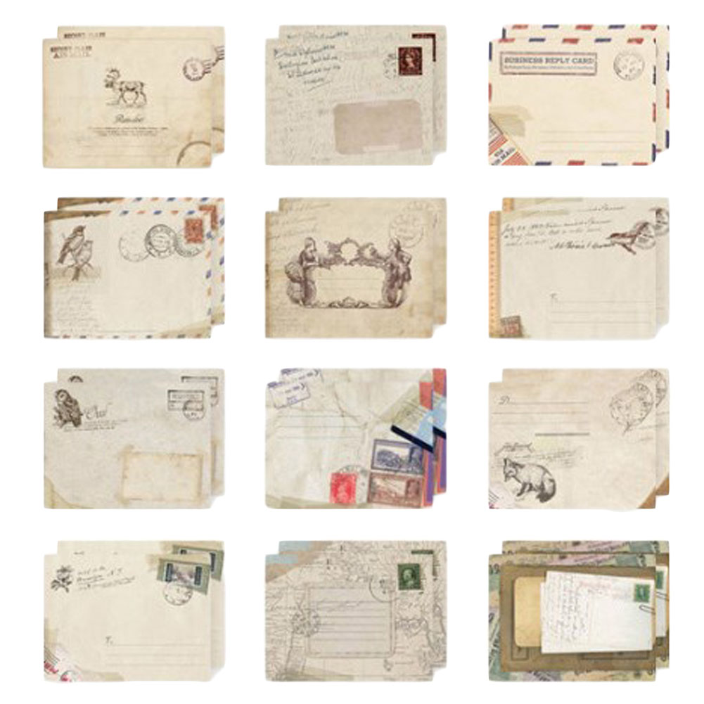 12 Pcs/Set Vintage Small Mini Kraft Paper Window Envelopes Wedding Invitation Envelope Gift Envelope