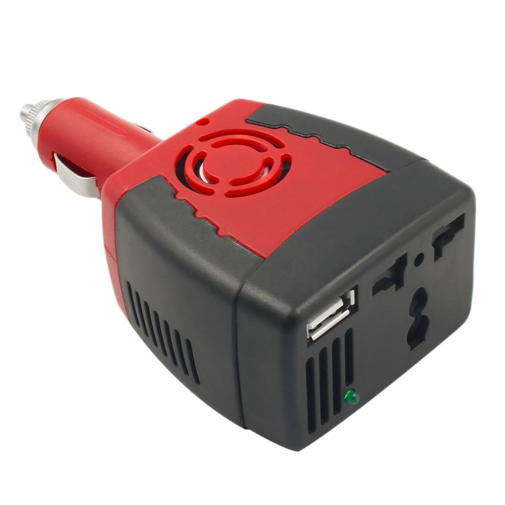 Otomobiller ve Motosikletler'ten Araç İnvertörleri'de 1 adet çakmak güç kaynağı 150W 12V DC 220V AC araba güç invertörü adaptörü USB şarjlı portu damla kargo ~ title=
