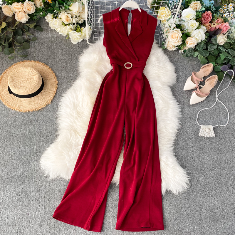 Fashion 2020 Slim Office V Neck Summer Tank Full Length Jumpsuit Casual Women Sleeveless Elegant Playsuit High Waist Tie Romper