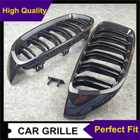 New Gloss Black/ M Color Mesh grill For Bmw 4 Series F32 F33 F36 F80 F82 F83 ABS Carbon Look 2 Line Car Front Grill 2013 IN