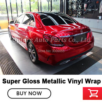 high end series Glossy Metallic Vinyl Film Gloss blood red wrapping film Foil With Air Bubble Free Vehicle wrapping paper