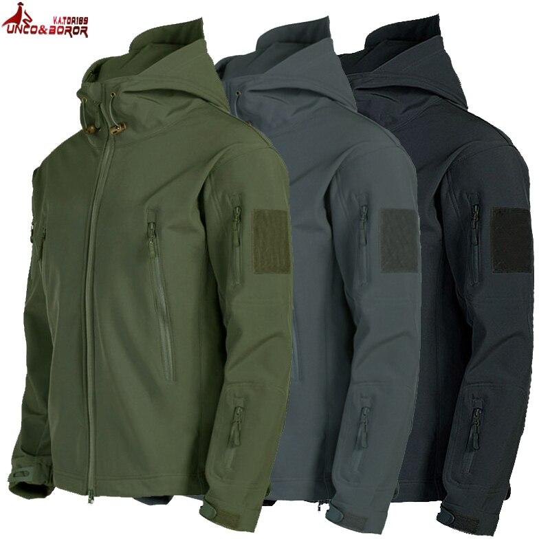 Армейская кожа акулы мягкая оболочка одежда тактическая ветрозащитная водонепроницаемая куртка мужская летная пилот капюшон пальто Военная Полевая куртка бомбер