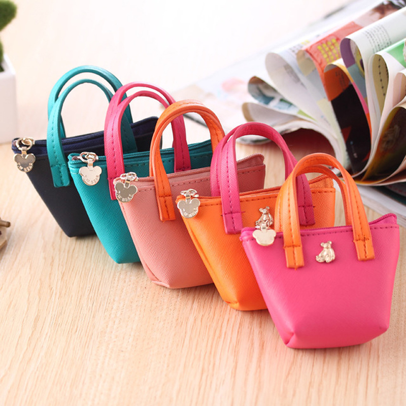 Candy Color Mini PU Coin Key Holder Purse Small Colorful Change HandBag For Women Sweet Candy Colors Clutch Money Wallet Purse