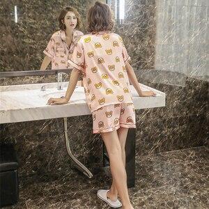 Image 2 - Caiyier pyjama mignon ours imprimé, chemise de nuit en Satin, en soie, manches courtes, décontracté, grande taille, vêtements de maison, été, M 5XL