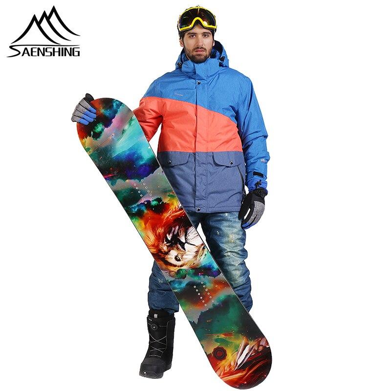 Saenshing 防水スキースーツ男性マウンテンスキージャケット + スノーボードパンツ通気性冬スノーモービルコート 30 度  グループ上の スポーツ & エンターテイメント からの スキー ジャケット の中 1