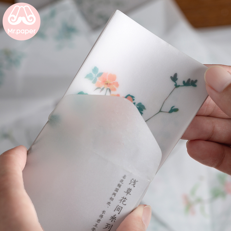 Mr paper 30 Pcs Creative Chinoiserie Artsy Leaves Writing Note Plants Flowers Memo Pads Transparent Paper Loose Leaf Paper 3