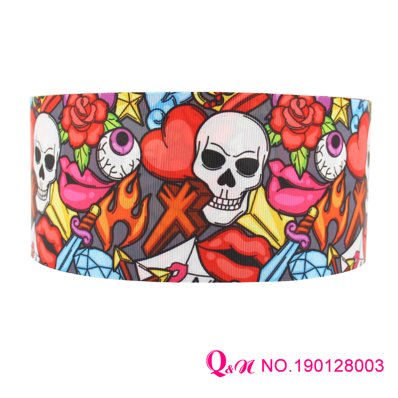 Q&N <font><b>ribbon</b></font> 10Yards 22mm skull monster <font><b>Grosgrain</b></font> Satin <font><b>Ribbons</b></font> for Wedding <font><b>Halloween</b></font> Party Decorations DIY Bow image