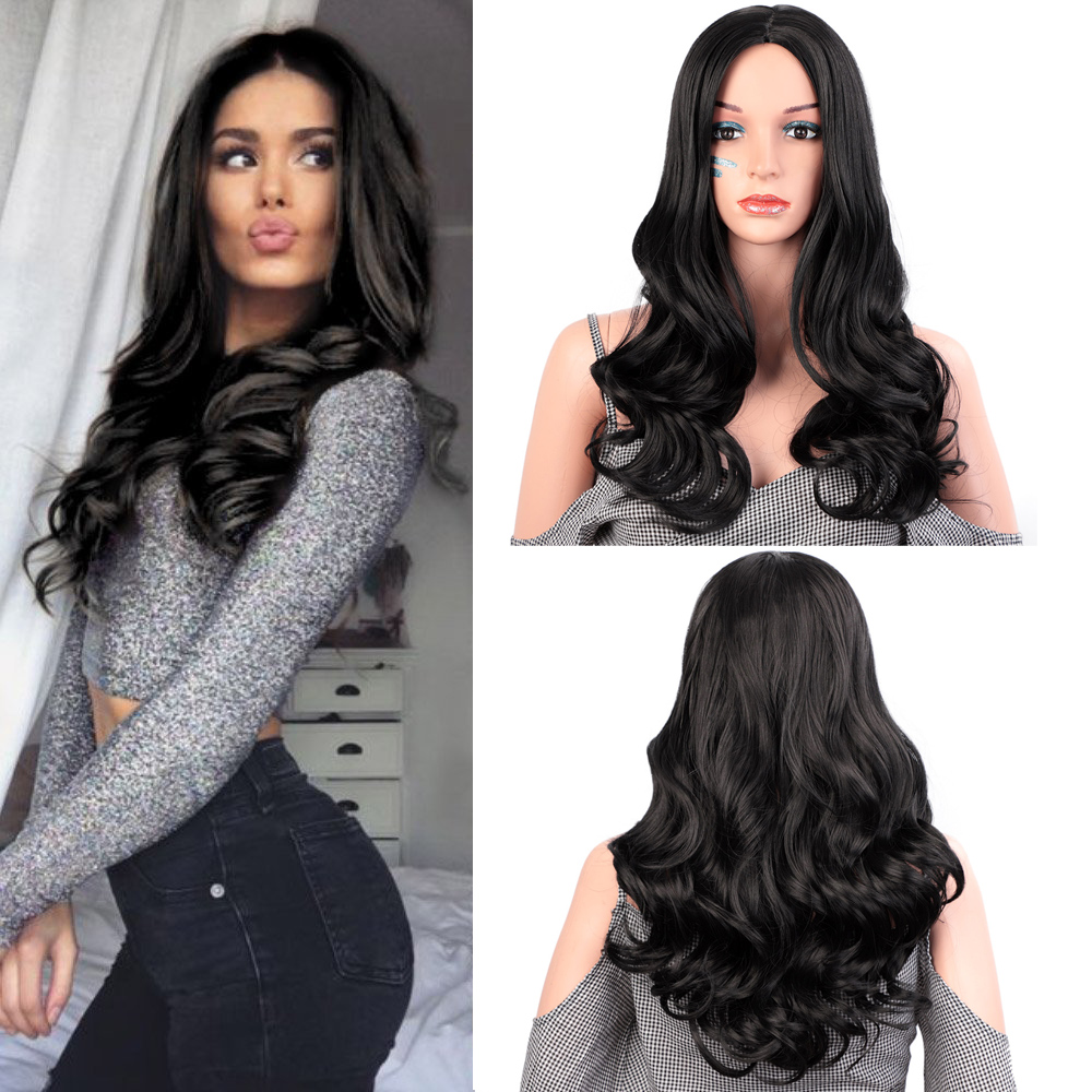 AISI HAIR 26inches Nature Wave Wig Synthetic Black Long Wigs For Black Women Heat Resistant Fiber Hair Water Wavy Wig