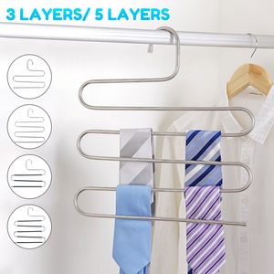 S-Type 5 Layers Hanger Stainless Steel MultiFunctional Clothes Pants Scarf Hangers Multilayer Storage Rack Holder Organizer